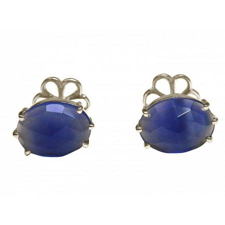 Herren Manschettenknöpfe 925 Silber Vergoldet Onyx Blau