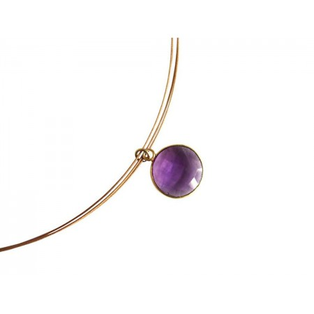 Damen Halskette 925 Silber Vergoldet Amethyst Violett CANDY 45 cm